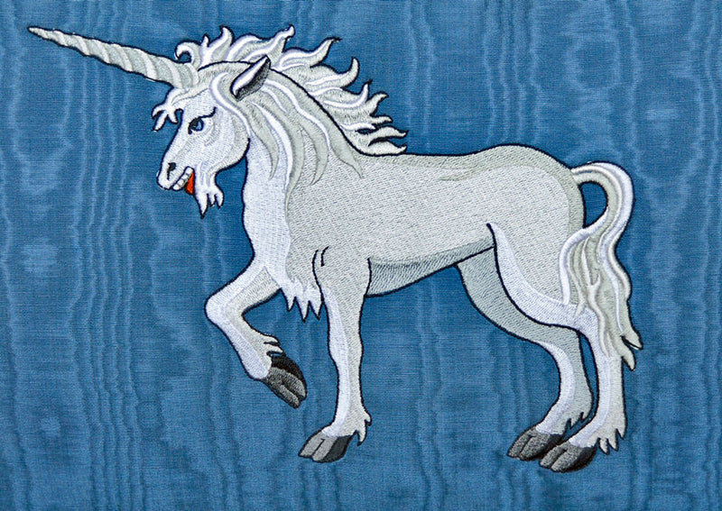 Unicorn embroidered cushion, unicorn pillow with vintage fabric, cotton, silk