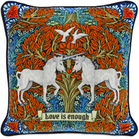 Love is Enough - Unicorns in Orange/Brown on silk velvet