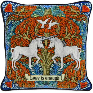 Love is Enough - Unicorns in Red/Brown on silk velvet