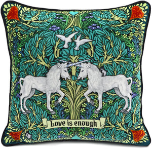 Love is Enough - Unicorns in Green on silk velvet