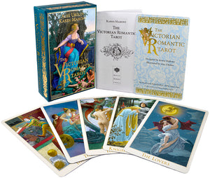 The Victorian Romantic Tarot deck by Baba Studio. Showing the Queen of Hearts box. Tarot cards based on Victorian art