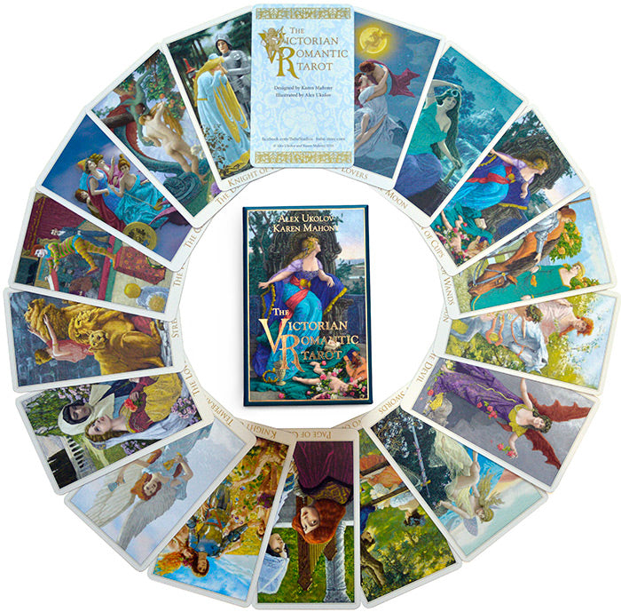Baba Studio's Victorian Romantic Tarot deck, tarot cards illustrated with Victorian art and engravings