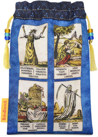 oracle deck, czech oracle, antique oracle, tarot bag, tarot pouch, drawstring, antique indigo, modrotisk, antique tarot cards