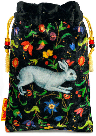 The White Rabbit bag. Printed on silk velvet. Black velvet version.