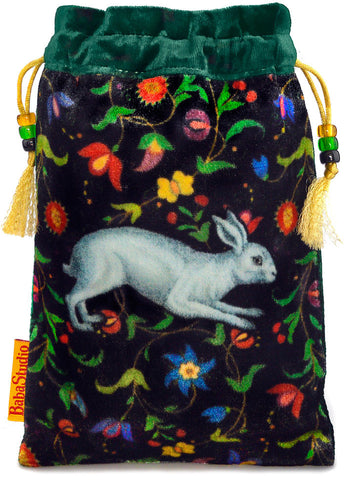 The White Rabbit bag. Printed on silk velvet. Green velvet version.