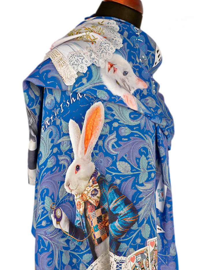 Printed Alice in Wonderland scarf, viscose wrap with White Rabbit designed by Baba Studio