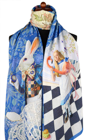 Rabbit scarf, Alice in Wonderland print by Baba Studio, dark blue viscose wrap