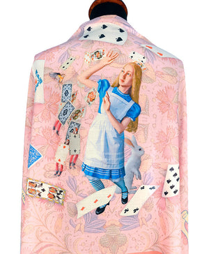 Printed scarf - Alice in Wonderland, The White Rabbit, Shower of Cards, viscose wrap by Baba Studio