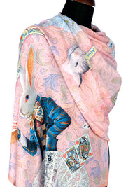 Scarf Alice in Wonderland print by Baba Studio, pink viscose wrap - The White Rabbit design