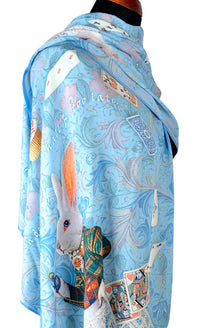 Scarf Alice in Wonderland design, printed viscose wrap - The White Rabbit