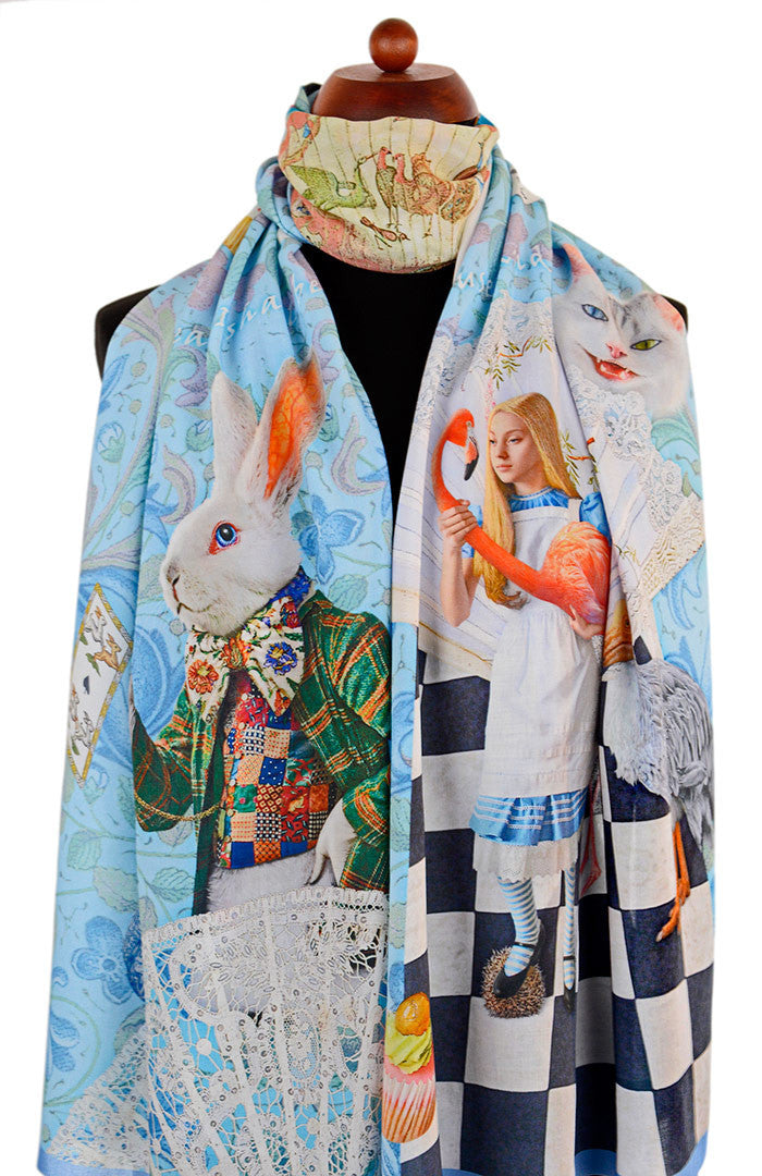 Alice in Wonderland scarf, printed viscose wrap, The White Rabbit in sky blue