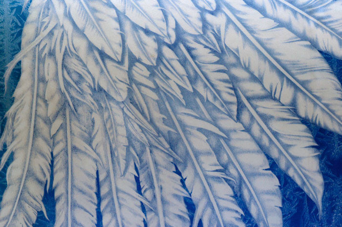 Wings of an Angel pure silk-satin scarf/wrap. Blue version. - Baba Store - 5