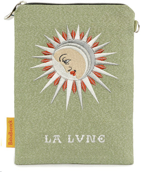 La Lune -  silk velvet embroidered wristlet. Antique metallic kimono silk.