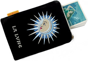 Embroidered bag - La Lune / The Moon tarot bag in black silk velvet. Limited Edition tarot pouch by Baba Studio.