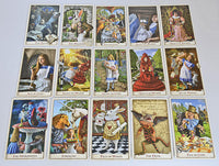 The Alice Tarot cards, white rabbit, red queen, eat me, drink me, caterpillar, red queen