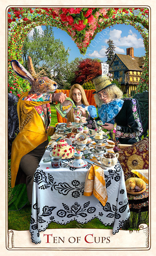 The Alice Tarot, tea party, Mad Hatter, March Hare, Dormouse, Alice in Wonderland tarot cards