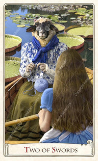 The Alice Tarot, the knitting sheep, alice through the looking glass, tarot deck, tarot cards