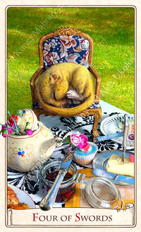 The Alice Tarot deck, alice tarot cards, dormouse, tea party, alice in wonderland