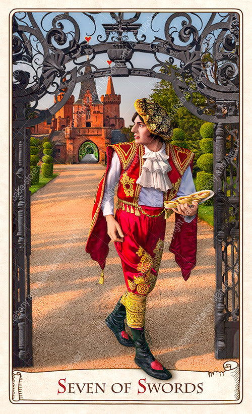 The Alice Tarot, knave of hearts, stole the tarts, alice in wonderland, tarot deck, tarot cards