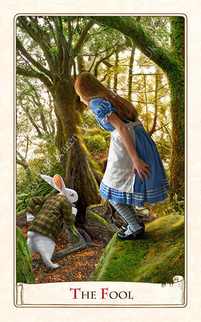 The Alice Tarot, white rabbit, alice in wonderland, wonderland tarot, down the rabbit hole, tarot cards