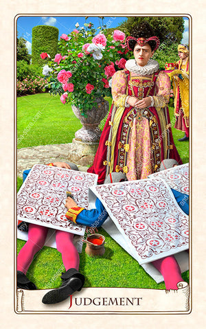 The Alice Tarot, Red Queen, off with their heads, Alice in Wonderland, Alice tarot cards, Wonderland tarot cards
