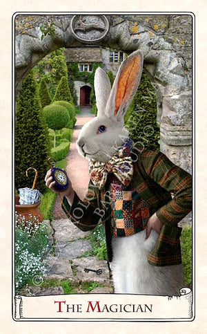 "Reserved, please don't buy. The White Rabbit ""I'm late!"" art doll, with traditional printed ""tweed"" jacket - Baba Store - 6"