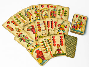 "Antique Czech ""Bohemian pattern"" cards - good, antique copy from Prague"