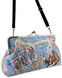 The White Rabbit, soft blue, 10 inch clutch bag with Alice in Wonderland print.