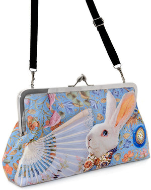 The White Rabbit printed satin clutch bag. Alice in Wonderland print. By Baba Studio