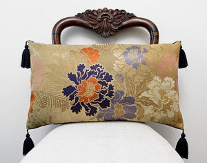 kimono cushion, japanese obi, vintage silk, vintage fabric, gold cushion, upcycled, handmade pillow, indigo, metallics, decorative pillow, tassels