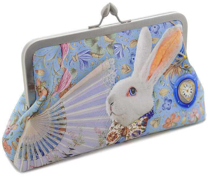 The White Rabbit, soft blue, 8 inch size in satin - Baba Store - 1