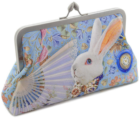 The White Rabbit, soft blue, 8 inch size in satin