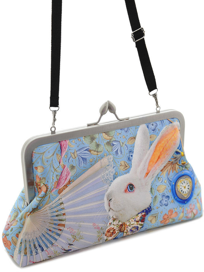The White Rabbit, soft blue, 8 inch size in satin - Baba Store - 5