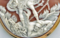 St Michael slaying the Devil. Victorian carved shell cameo. Museum quality.