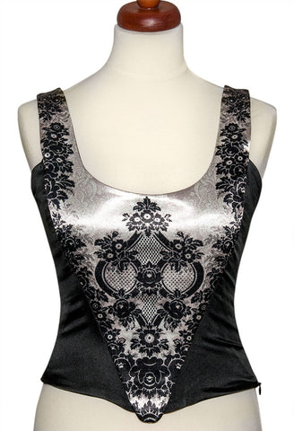 Lace Gothique, ivory, with black stretch silk