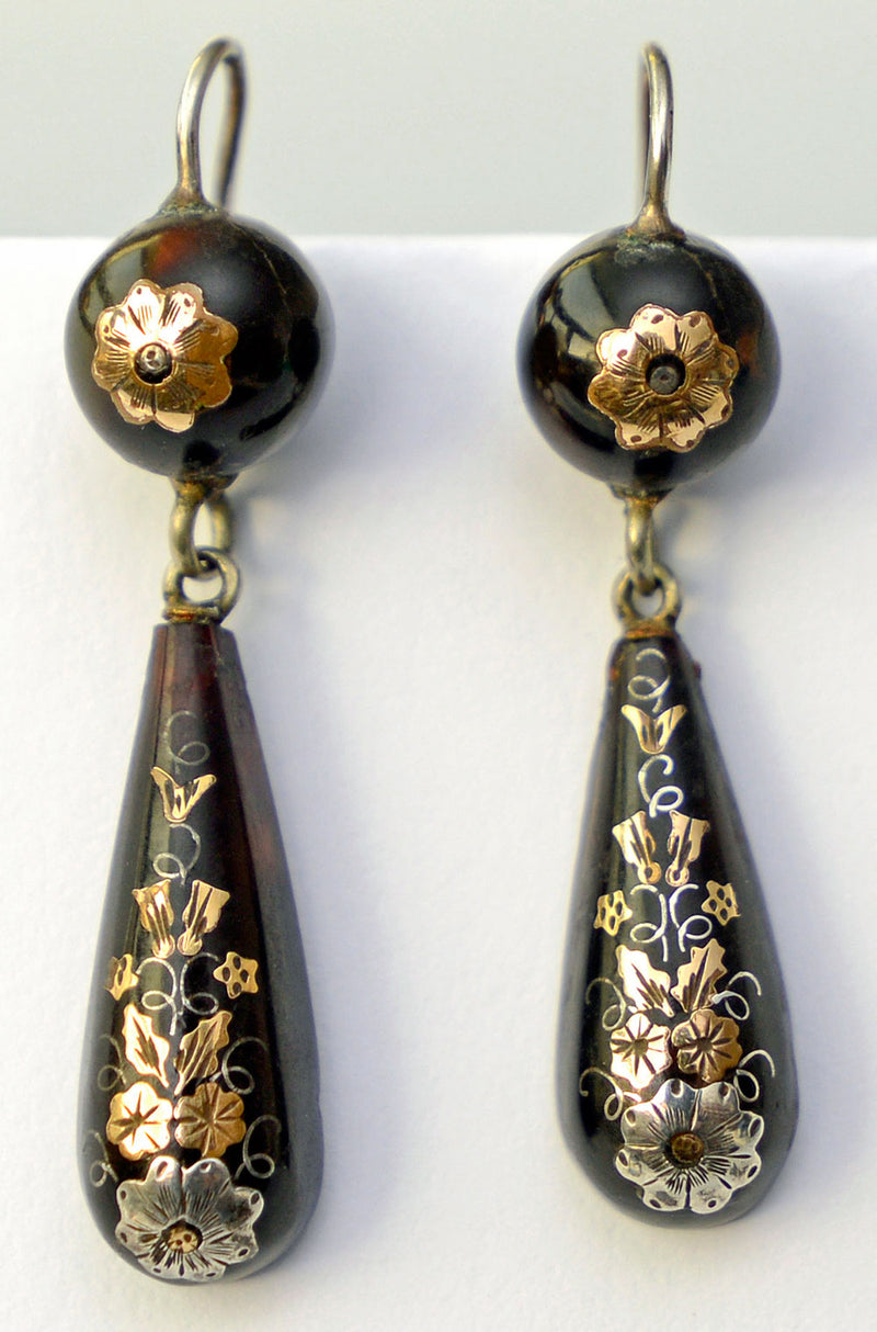 Victorian pique earrings. Gold and silver on antique tortoiseshell.