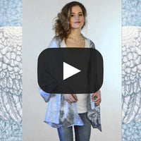 Wings of an Angel, pale version, pure silk-satin scarf/wrap. - Baba Store - 2