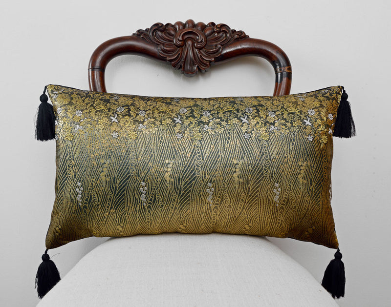 kimono cushion, japanese obi, silk, velvet, vintage fabric, gold and black cushion, pillow, metallics, decorative pillow, tassels