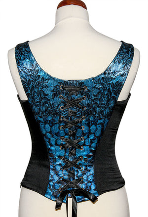L'amour de Pierrot, blue slate, with black stretch silk. Snag on printed front. - Baba Store - 2