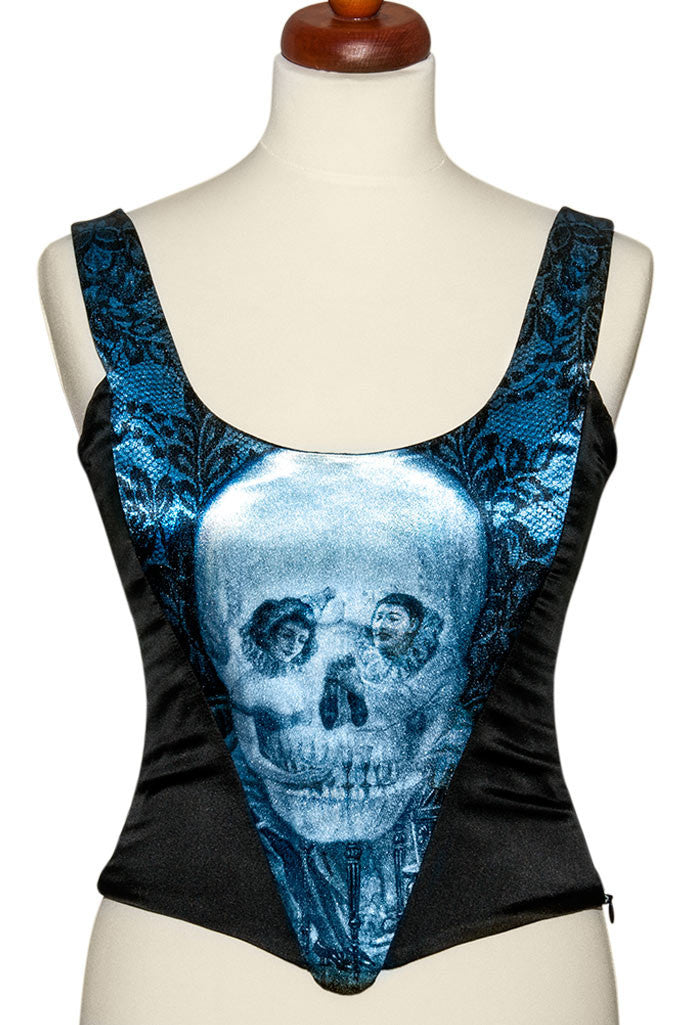 L'amour de Pierrot, blue slate, with black stretch silk. Snag on printed front. - Baba Store - 1