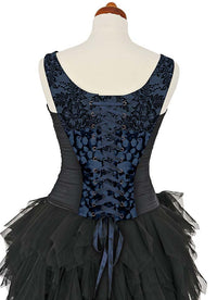 L'amour de Pierrot, blue slate, with black stretch silk. Snag on printed front. - Baba Store - 4