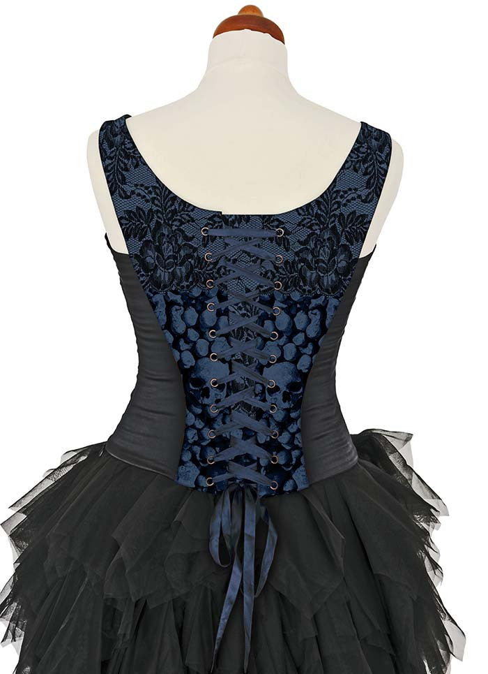 L'amour de Pierrot, blue slate, with black stretch silk - Baba Store - 4