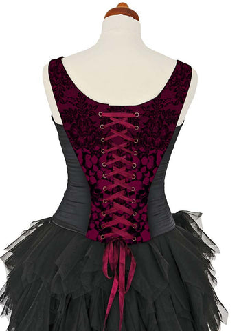 L'amour de Pierrot, burgundy, with black stretch silk