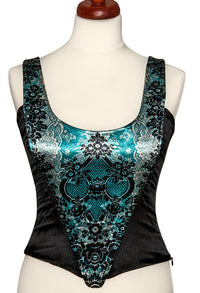 Lace Gothique, absinthe green, with black stretch silk - Baba Store - 1