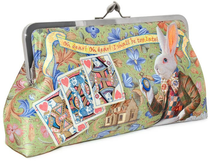 The White Rabbit, Wonderland clutch. Printed purse with Alice theme by Baba Studio