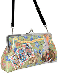 I'm Late. The White Rabbit, Wonderland printed purse. Satin clutch bag by Baba Studio