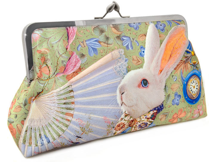 The White Rabbit Alice in Wonderland printed satin clutch bag. Purse by Baba Studio