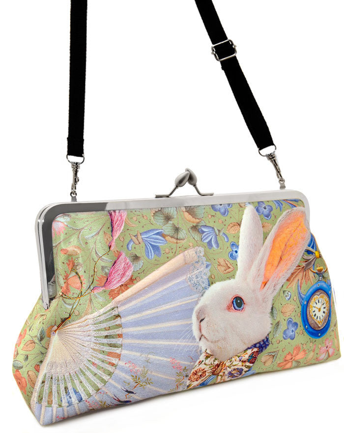 The White Rabbit Alice in Wonderland printed clutch bag by Baba Studio