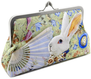 The White Rabbit clutch bag in satin Alice in Wonderland, printed bag.