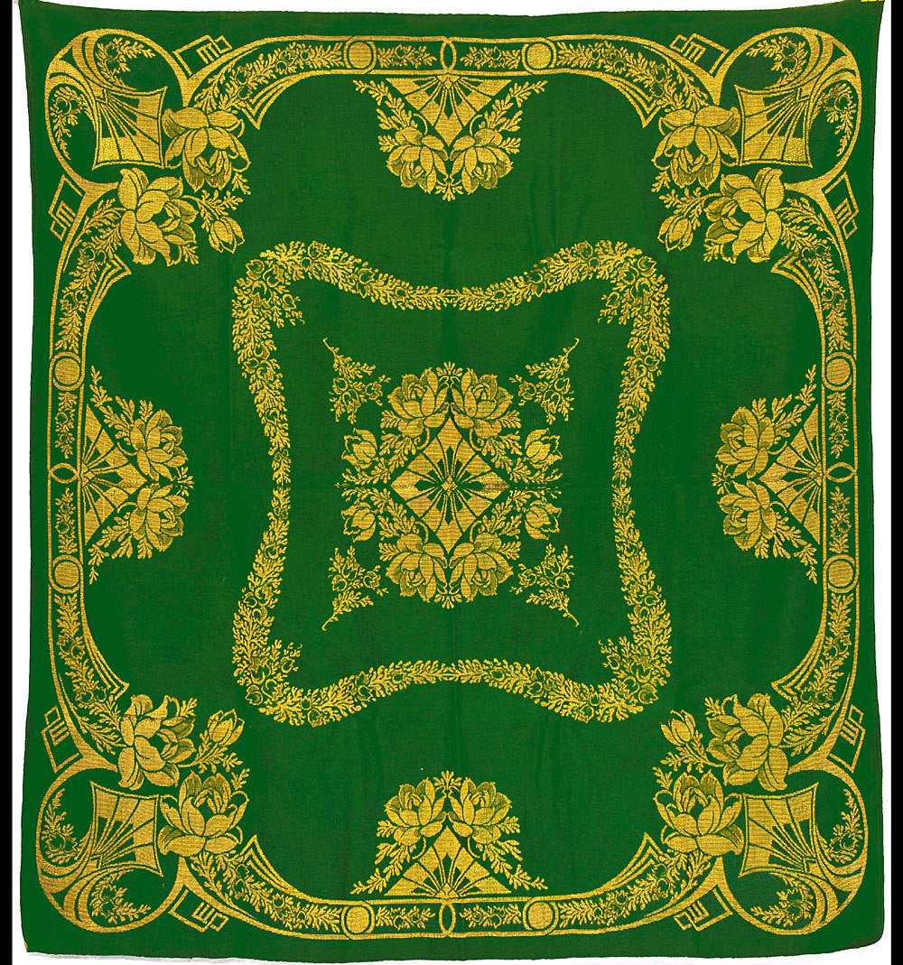 SALE! Art Nouveau green and gold cloth. Gorgeous, rare piece. - Baba Store - 1